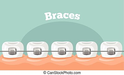 vector, bretels, teeth