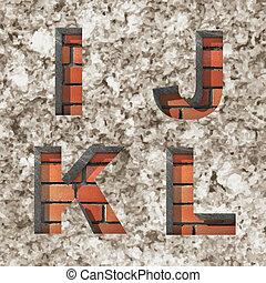 Vector brick alphabet letters set