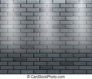 Vector brick wall with three spotlights. Vector scene background