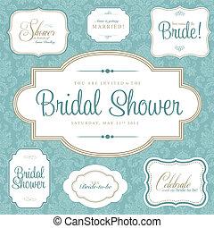 Vector Bridal Shower Frame Set