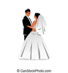 Vector Bride and Groom Cartoon Illustration.