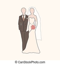 Vector bride and groom pastel silhouettes