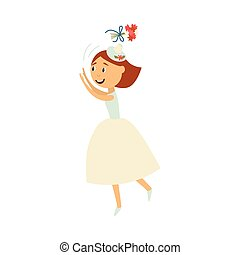 Vector bride throwing her bouquet isolated