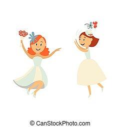 Vector brides throwing bouquet , dancing set
