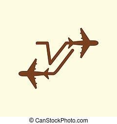 vector, brief, luchtwegen, reizen, aanvankelijk, schaaf, mal, v, logo, lijn, element.