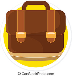 Vector Briefcase Flat Round Icon