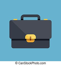Vector briefcase icon. Flat icon. Flat design vector illustration