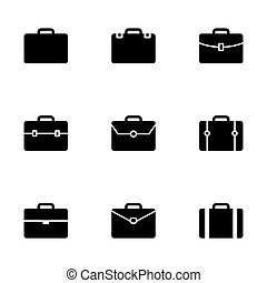 Vector briefcase icon set on white background