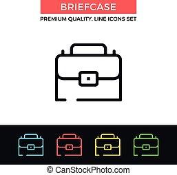 Vector briefcase icon. Thin line icon