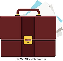 Vector Briefcase with Sheets of Pap