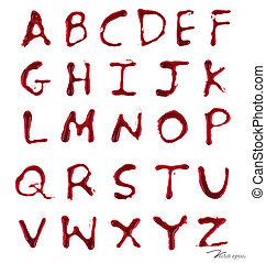 vector, brieven, illustration., het droppelen, een-z, blood.