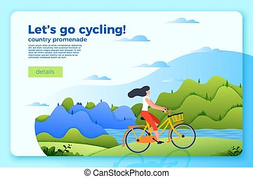 Vector bright banner template with girl on a bike