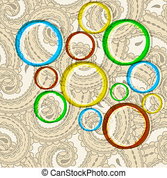 vector bright circles on seamless eastern style paisley background