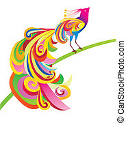 vector bright color picture of peacock