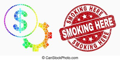 Vector Bright Dot Financial Options Gear Icon and Scratched Smoking Here Stamp