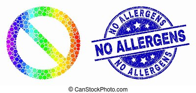 Vector Bright Dot Forbidden Icon and Scratched No Allergens Seal