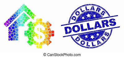Vector Bright Dot House Financial Settings Icon and Distress Dollars Stamp