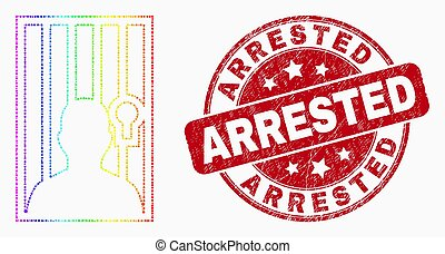 Vector Bright Dot Jailed Person Icon and Grunge Arrested Watermark