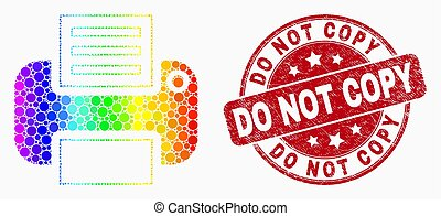 Vector Bright Dot Printer Icon and Distress Do Not Copy Watermark