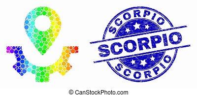 Vector Bright Dot Service Map Marker Icon and Distress Scorpio Watermark