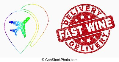 Vector Bright Dotted Airport Map Markers Icon and Grunge Delivery Fast Wine Stamp Seal
