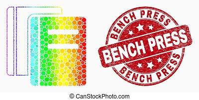 Vector Bright Dotted Books Icon and Grunge Bench Press Stamp Seal