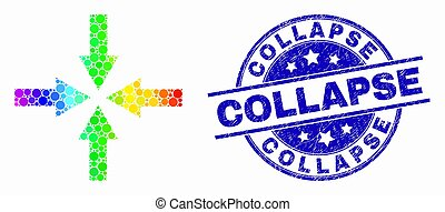 Vector Bright Dotted Collapse Arrows Icon and Scratched Collapse Stamp Seal