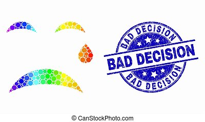 Vector Bright Dotted Crying Smiley Icon and Distress Bad Decision Stamp