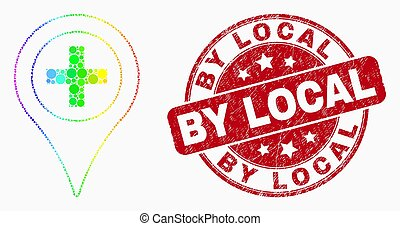 Vector Bright Dotted Medical Map Marker Icon and Grunge By Local Watermark