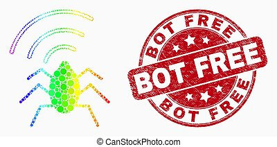 Vector Bright Dotted Radio Bug Icon and Distress Bot Free Stamp Seal