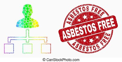 Vector Bright Dotted User Links Icon and Grunge Asbestos Free Stamp Seal