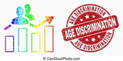 Vector Bright Dotted Visitors Bar Chart Icon and Scratched Age Discrimination Stamp