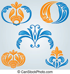 vector bright floral design elements
