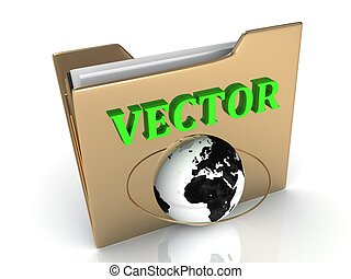 VECTOR bright green letters on a golden folder