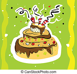 Vector bright illustration with birthday cake