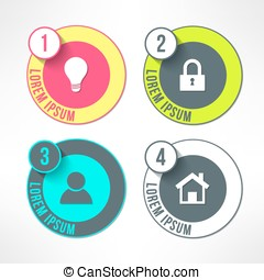 Vector bright infographic circles set in modern flat design suitable for business presentations and reports. Four steps process with long shadows