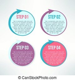 Vector bright infographic circles with arrows set in modern flat design suitable for business presentations and reports. Four steps process banners