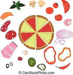 Vector bright ingredients for pizza. Sets of vegetables, meat, mushrooms, seafood. Menu design, recipe. Children's illustration.