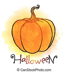 Vector bright orange pumpkin with watercolor effect