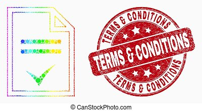 Vector Bright Pixel Agreement Page Icon and Grunge Terms & Conditions Stamp
