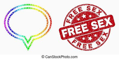 Vector Bright Pixel Banner Balloon Icon and Distress Free Stamp