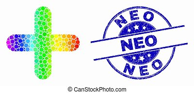 Vector Bright Pixel Cross Icon and Grunge Neo Watermark