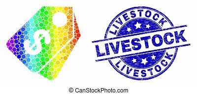 Vector Bright Pixel Dollar Tags Icon and Scratched Livestock Seal