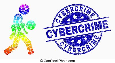 Vector Bright Pixel Kidnapper Icon and Scratched Cybercrime ...