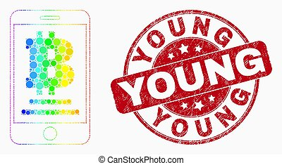 Vector Bright Pixel Mobile Bitcoin Bank Icon and Scratched Young Stamp Seal