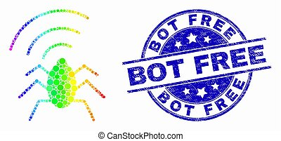 Vector Bright Pixel Radio Bug Icon and Grunge Bot Free Stamp Seal