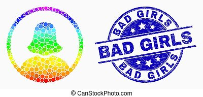 Vector Bright Pixel Rounded Woman Portrait Icon and Distress Bad Girls Stamp