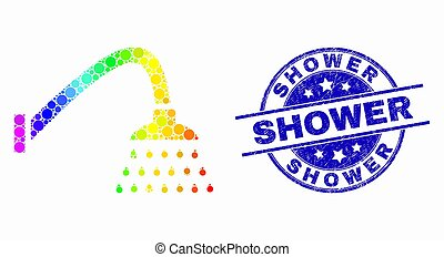 Vector Bright Pixel Shower Icon and Grunge Shower Stamp