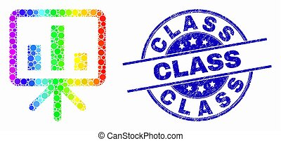 Vector Bright Pixelated Bar Chart Presentation Icon and Distress Class Stamp