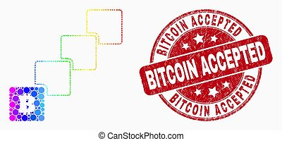 Vector Bright Pixelated Bitcoin Blockchain Icon and Scratched Bitcoin Accepted Watermark